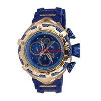mann quarz armbanduhr groihandel-INVICTA Luxuxgold Uhren Männer Sport-Quarz-Uhren Chronograph Auto Datum Gummiband-Armbanduhr für männliches Geschenk