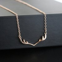 Wholesale simple small necklace resale online - Women Simple Necklaces Small Antler Christmas Mecklace Clavicle Chain