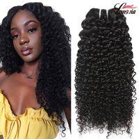 26 inç kıvrımlı brazilian saç toptan satış-Perulu Kıvırcık İnsan Saç Örgüleri 100% derin dalga Bakire saç demetleri doğal renk Işlenmemiş 8A Brezilyalı Jerry Sapıkça Bukleler Saç Uzantıları