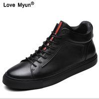 männer schuhe marken großhandel-Echtes Leder Schuhe Männer Marke Schuhe rutschfeste Dicke Sohle Mode Für Männer Casual Schuhe Männliche Hohe Qualität Rindsleder Loafershjm89