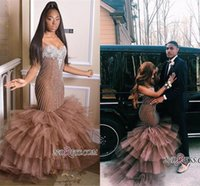 Wholesale sexy gorgeous girls resale online - Gorgeous Afrian Couple Fashion Mermaid Prom Dresses Layer Ruffles Beadings Appliqued Sweetheart Long Black Girl Party Evening Gowns BC1699