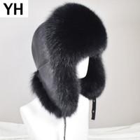 koyunkuşu tilki kürkü toptan satış-Erkekler Açık Kış Doğal Gerçek Fox Kürk bombacılar Şapkalar Sıcak Yumuşak Kalite Real Rakun Kürk Cap Lüks Gerçek Sheepskin Deri Şapka Y200110