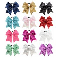 Wholesale embroideried sequin for sale - Group buy 24Pcs Inch Embroideried Sequin Bows With Elastic Hair Band Cheerleading Rubber Ponytail Hair Holder Beautiful HuiLin C247