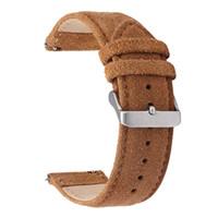 breite uhren großhandel-Echtleder-Wildleder-Uhrbänder ausgetauscht 20 ~ 22mm breit schwarz und braun