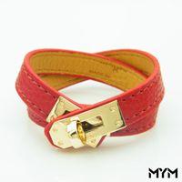 Wholesale h bracelets men resale online - Vintage Multilayer Pu Leather H Bracelets for women Cuff bangles Men gold buckle Wristband Pulseras Hombre Male Accessories Jewelry
