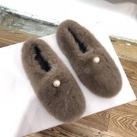 Wholesale fu le shoes resale online - Gorgeous2019 Sponge Pearl Thickness Water Mink Baby Woman Other Clothes Villus Scoop Shoes Flat Bottom Le Fu Single Shoe