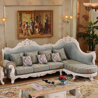ingrosso legno massiccio antico-disegno antico Divano in tessuto stile europeo elegante, soggiorno divano in legno massello di lusso