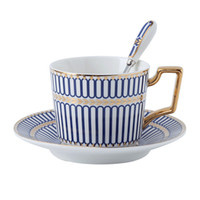 Wholesale high tea china sets for sale - Group buy Export English bone China Porcelain Tea Set Coffee Cup Saucer Spoon Set high end Espresso Cup