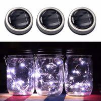 frascos de hadas al por mayor-3 Unids Creativo 3 Unids Solar Mason Jar Fairy Light Con Led Blanco Para Vidrio Mason Jars Party Garden Wedding Light Decoraciones