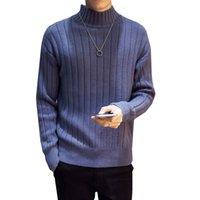 jersey delgado elegante de los hombres al por mayor-Nuevo estilo otoño invierno suéter de cuello alto de los hombres rayas de color sólido suéter ocasional Slim Fit Hombre de punto jerseys Tops