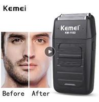 depilación rotativa al por mayor-Afeitadora inalámbrica recargable Kemei KM-1102 para hombres Maquinilla de afeitar con doble cuchilla Cuchilla de afeitar Cuidado facial Multifunción Recortadora fuerte