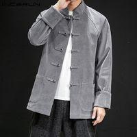 Wholesale color costume resale online - INCERUN Autumn Fashion Men Pure Color Long Sleeve Corduroy Shirt Jackets Retro Joker Buckle Mens Casual Blouse Chinese Costume