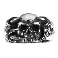 Wholesale men's unique rings resale online - Punk Style Rings Skeleton Pattern Stainless Steel Double Layer Ring Cool Personality Generous Unique Designed For Men s Party Gift POTALA109