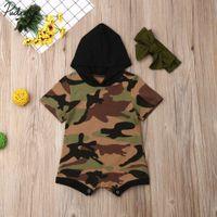 meninas camuflagem shorts venda por atacado-Crianças Baby Girl Clothes Short Sleeve Camuflagem Com Capuz Romper Total Outfit Set