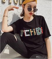 bordado do grânulo camiseta venda por atacado-primavera verão desgaste das mulheres novo bordado lantejoulas contas grafite letra BB puro algodão de manga curta T-shirt