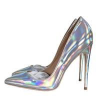 tacón alto de plata al por mayor-Envío gratis señora de las mujeres 2019 de moda de plata de charol Poined Toes tacones de boda estilete zapatos de tacón alto zapatos bombas 12 cm 120 mm