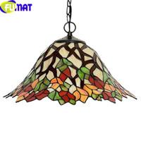 FUMAT Stained Glass Pendant Lamp Leaf Tiffany Hanglamp LED E27 2 Lights Hanging Lighting Fixture Suspension Lamp Pendant Lights
