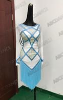 weiße lateinische ballsaalkleider großhandel-Latin Dance Kleid Fransen Quaste Mädchen sexy weiß hellblau Gesellschaftskleider Latin Salsa Kostüm Tanzkleid
