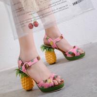 Wholesale women shoe peep toe tie for sale - Group buy Pink Pineapple Sandals Peep toe Platform High heel Shoes Fruit Sandal