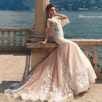 Wholesale short peach wedding dresses for sale - Group buy Vintage Mermaid Wedding Dresses Peach Champagne Sexy V neck Flare lace Sleeve Court Train Romantic applique beach Bride Gown Wedding