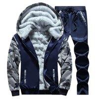 ingrosso tessuto ems-NIBESSER Winter Men Set Tuta Addensare Hoodies caldi Plus Pantaloni Abiti Autunno Felpe Set di abbigliamento sportivo Maschile Lungo Sporting