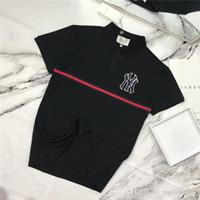 erkekler için markalı polo gömlek toptan satış-19ss lüks Marka Tasarım NY yankees işbirliği Polo Tee Gömlek Erkek Kadın Breatheable Moda Streetwear Açık T-Shirt