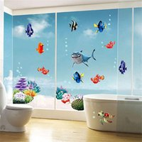 Wholesale sea world wall decorations resale online - Wonderful Sea world colorful fish animals wall art window bathroom decor decoration wall stickers for nursery kids rooms