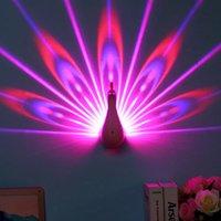ingrosso lampada a distanza intelligente per la casa-La luce del proiettore di notte Colore 7 che cambia LED Pavone Lampada da parete con smart TouchRemote controllo decorativa domestica lampada da parete 3D