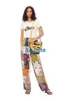 yüksek bel giyim pantolon toptan satış-Kadın kızlar paula patchwk pijama pantolon renkli İpli bel gevşek düz vintage pantolon high-end moda lüks pist elbise