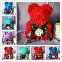 bären blumen großhandel-40 cm Frohe Weihnachten Rose Bär Künstliche Blume Rosen Teddi Bär Frauen Geschenk Freundin Ornamente Teddybär von Rose Dekorationen