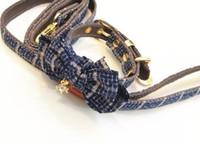 blaue leder hundehalsbänder groihandel-New Blue Plaid Hundehalsband Bogen Leder Hund Zugseil Anzug
