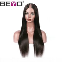 Wholesale u part lace resale online - U Part Wig Brazilian Straight Lace Front Wig Human Hair Wigs For Black Woman Natural Hairline Remy Natural Color Inch Beyo