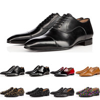 Wholesale womens brown oxford flats for sale - Group buy 2019 designer mens shoes red Flat bottoms Genuine Leather Oxford Shoes Business Mens womens Walking Wedding Party size with box