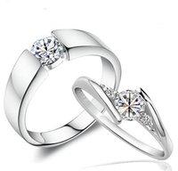 i̇sviçre elmas yüzüğü 925 toptan satış-Swiss Diamond Wedding Vintage Kore Stil 925 Gümüş Takı Lüks Aşk Charms yüzükler Çift Kadınlar Erkekler için Jewlelry Halkalar