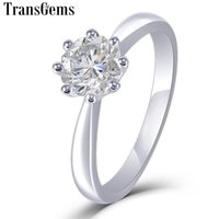 золотосодержащий муассанит оптовых-Transgems 14 K белое золото пасьянс Moissanite обручальное кольцо для женщин уникальный восьмиугольник резки 1ct 6 мм F цвет Moissanite кольцо