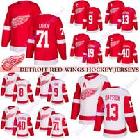 hokey forması pavel toptan satış-Detroit Red Wings Jersey 19 Steve Yzerman 13 Pavel Datsyuk 40 Henrik Zetterberg8 Justin Abdelkader 71 Larkin 9 Gordie Howe hokey formaları