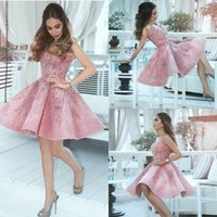 407f906adaa 2019 Beaded Short Prom Dresses Pink V Neck A Line Lace Appliqued Cheap Evening  Dresses Arabic Cocktail Party Gowns Homecoming Dress