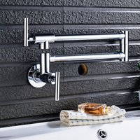 Wholesale folding kitchen taps resale online - Chrome Nickel Black Brass Pot Filler Tap Wall Mounted Kitchen Faucet Single Cold Single Hole Tap Rotate Folding Spout