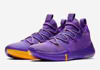 Wholesale online shoe stores basketball for sale - Group buy Hot Kobe AD Lakers purple gold shoes for sales Online sports basketball shoes store With Box US7 US12