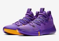 calçados de basquete online frete grátis venda por atacado-Hot Kobe AD Lakers sapatos de ouro roxo para vendas frete grátis 2019 Online esportes basquete sapatos loja Com Caixa US7-US12