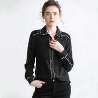 черные атласные блузки с длинным рукавом оптовых-Оптовая женщины черный белый шелк блузки 100% шелк атласные рубашки лацкан декольте длинные рукава шелковые платья