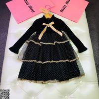 goldene linie kleid großhandel-Mädchen Kleid Kinder Designer Kleidung Herbst neue goldene Welle Kuchen Rock Futter Baumwolle Polyester Kleid Größe 100-140cm