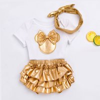 Wholesale babies shoes ruffles for sale - Group buy 1 Set Baby Girl Clothes Clothing Sets White Black Cotton Rompers Golden Ruffle Bloomers Shorts Shoes Headband Newborn Clothes