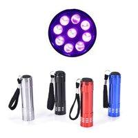 mini yenilik el feneri toptan satış-4 Renkler Mini Taşınabilir UV Ultra Violet Blacklight 9 LED El Feneri TAluminium Mini Taşınabilir El Feneri Torchlar Yenilik Öğeleri CCA11731 500 adet