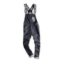 monos de talla grande para hombre al por mayor-Pop Mens Letters Impreso Negro Denim Bib Monos Moda Slim Fit Jumpsuits Plus Size S-5XL Jeans Pants