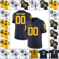 altın sayılar toptan satış-Özel Michigan Wolverines Koleji Futbol Dikişli Herhangi Adı Numarası Formalar beyaz lacivert sarı altın Brady Patterson Gary Collins Bush