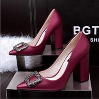 ingrosso blocco design-Scarpe da donna con strass alti talloni di design 9,5 centimetri scarpe da donna con punta a punta eleganti scarpe da ufficio pompe di partito sandali scarpe da sera sexy