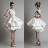 topu elbisesi gelinlik katmanı toptan satış-1950'ların Stil Kısa Gelinlik Bateau Dantel Plaj Katlı Açık Çiçek Bahar Diz Boyu Gelinlikler Dantel Balo Vestido de novia