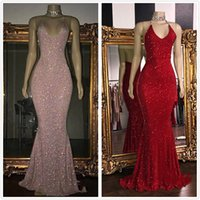 Wholesale stunning two piece prom dresses resale online - 2020 Stunning Rose Pink Sequined K19 Prom Dresses Sexy Spaghetti Straps Mermaid Sleeveless Halter Red Evening Gowns robes de soirée