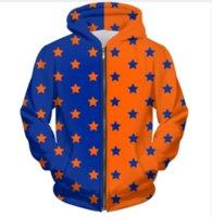 roupa laranja azul venda por atacado-Nova Marca de Moda de Qualidade Com Zíper Com Capuz Laranja Azul Dividir Estrela 3D Impressão Zip-Up Hoodies Camisola Dos Homens / Mulheres Estilo Harajuku Outfits Tops